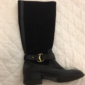 Ralph Lauren black leather and suede boots